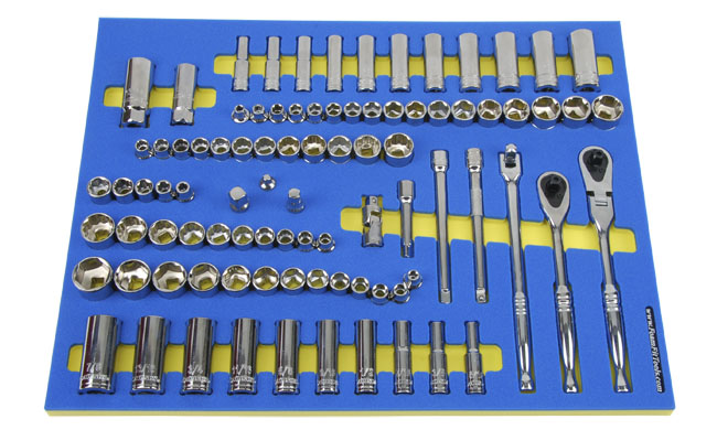 Foam Organizer for 80 Husky 3/8-drive Sockets with 2 Ratchets and 8 Additional Tools