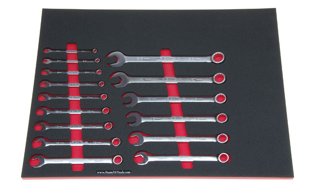 Foam Organizer for 15 Wright Metric Combination Wrenches