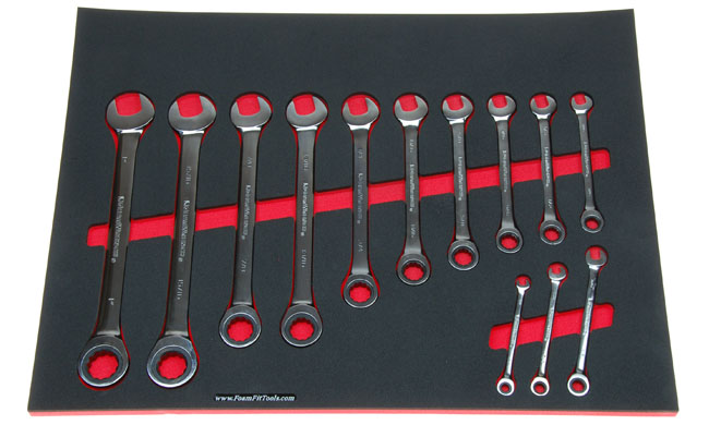 Foam Organizer for GearWrench ratcheting wrenches.