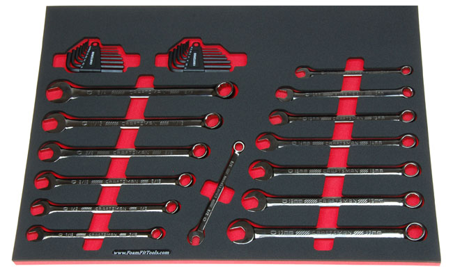 Foam Organizer for Craftsman Full-Polish, Long Gunmetal Chrome Inch Combination Wrenches and Hex Keys from the 150-pc Mechanics Set.