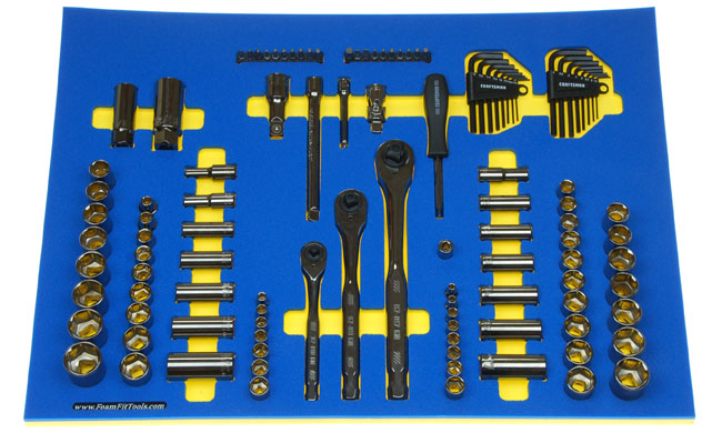 Foam Organizer for Craftsman Sockets and Drive Tools from the Gunmetal Chrome 121-pc Mechanics Tool Set CMMT12033