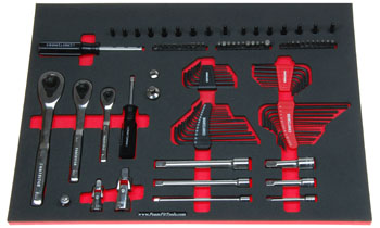 Foam organizer F-03103-R1 and tools from the Craftsman 298-pc set CMMT12039