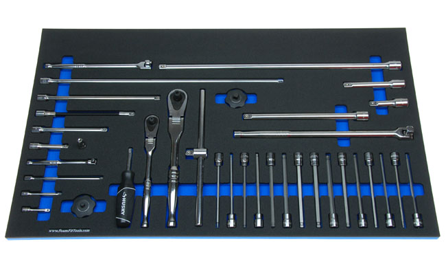 Foam Organizer for 4 Husky Ratchets, 13 Extensions, 3 Breaker Bars, T-handle, Spinner Handle, and 15 Long Hex Ball Sockets