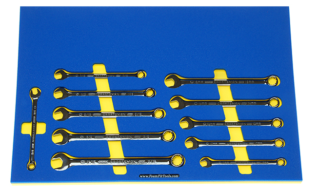 Foam Organizer for Craftsman Full-Polish, Long Gunmetal Chrome Combination Wrenches from the 121-pc Mechanics Set.