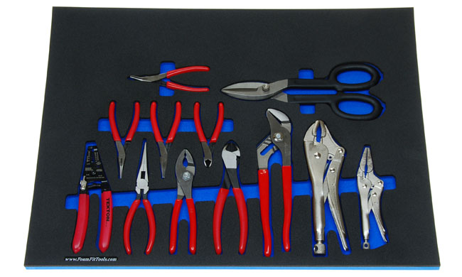 Foam Organizer for 9 Tekton Pliers and 2 Tekton Locking Pliers Plus a Tin Snips