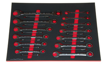 Foam organizer F-03421-R1 and tools from the Craftsman 298-pc set CMMT12039