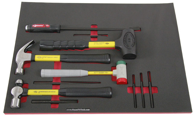 Foam Organizer for 4 Nupla Hammers and 7 Mayhew Tools
