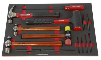 Foam Organizer F1M-01335 with Craftsman Hammers, Pry Bar, and Punches
