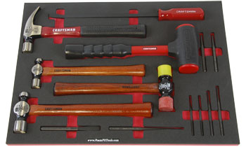 Foam Organizer F1M-01336 with Craftsman Hammers, Pry Bar, and Punches