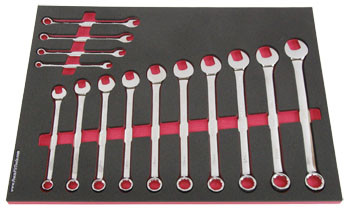 Foam Organizer F1M-01407 and 14 Craftsman Metric Combination Wrenches