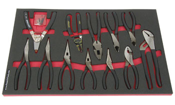 Foam Organizer F1M-01872 and 12 Craftsman Pliers