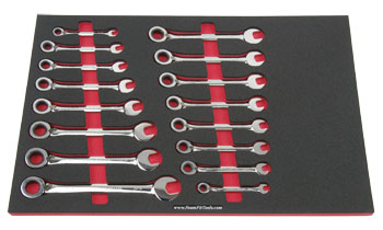 Foam Organizer F1M-02052 and 16 Craftsman Reversible Ratcheting Wrenches